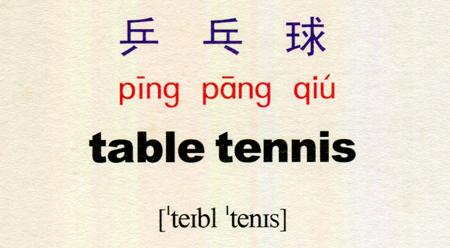 Tự học tiếng Trung với danh từ Bóng bàn 乒乓球