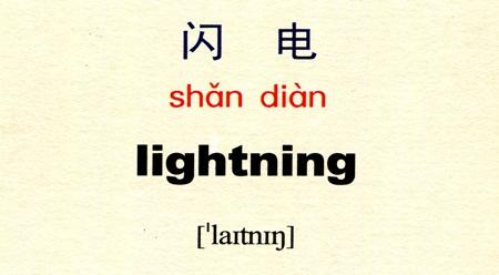 Tự học tiếng Trung với danh từ Tia sét 闪电