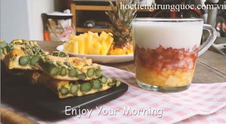 Trứng tráng với măng tây cho bữa sáng